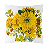 JWH 3D Sunflower Throw Pillow Cover Water Color Print Cushion Cover Soft Velvet Pillowcase Home Bed Room Décor Girl Gift Yellow 18 x 18 Inch