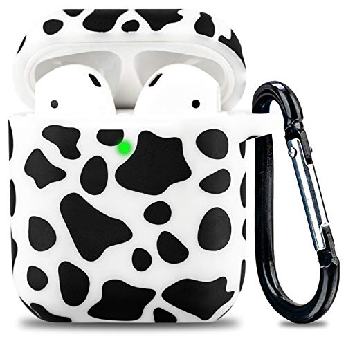 Airpod Case Soft Silicone Flexible Skin Cow Print LitoDream Airpods Case Cover for Apple AirPods 2&1 Cute for Girls with Keychain (Cow)