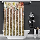 OERJU Gestreifter bedruckter Duschvorhang für Badezimmer, Metallic-Aquarell-Blume, maschinenwaschbar, Fenstervorhang-Set mit Haken, 178 x 182,9 cm, wasserdicht, Polyester, goldfarben