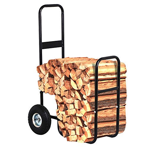 COLIBROX Heavy Duty Steel Firewood Log Rack Dolly Cart Carrier Trolley Wood Mover Hauler