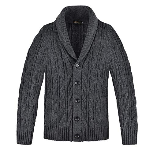 BOTVELA Men's Cable Knit Shawl Collar Casual Cardigan Sweater with Buttons and Pockets (Small, Dark Grey)