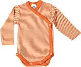 Cosilana Baby Wickelbody aus 70% Wolle und 30% Seide kbT (50-56, Geringelt Safran-orange Natur)