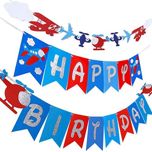 Airplane Plane Birthday Banner & Garland Decoration for Airplane Aviator Aviation Birthday Themed Party Up And Away Glitter Felt Banner & Cloud Garland Supplies Boys Aircraft Bday Decor