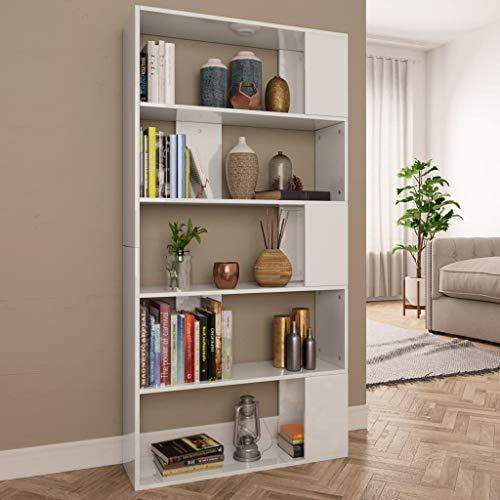UnfadeMemory Estantería Librería Versátil con 5 Compartimentos Espaciosos,Separador Espacio,Estantería para Libros,Aglomerada,80x24x159cm (Blanco Brillante)