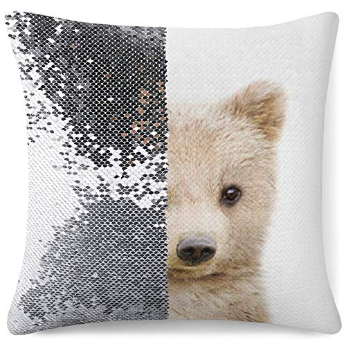 Tamengi Sequin Pillow Cover, Bear Cub, Zipper Pillowslip Pillowcase, Decorations for Sofas, Armchairs, Beds, Floors, Cars