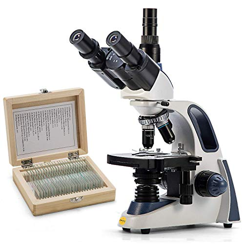 SWIFT Trinocular Compound Microscope SW380T, 40X-2500X Magnification,Siedentopf Head,Research-Grade,Two-Layer Mechanical Stage, with 25 PCS Prepared Microscope Slides Glass Slide