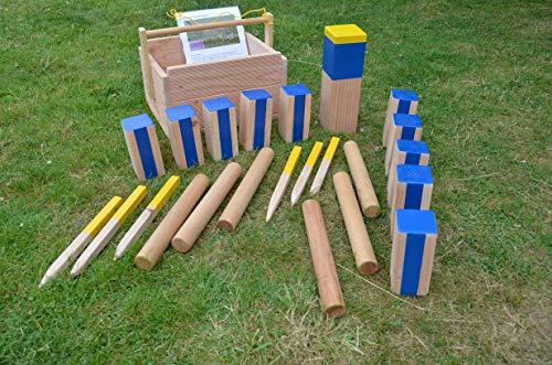 Kubb Turnier Spiel (Maße nach den Regeln der deutschen Kubbmeisterschaft) schwere Ausführung (Douglasienholz) mit Transport- Holzkiste.