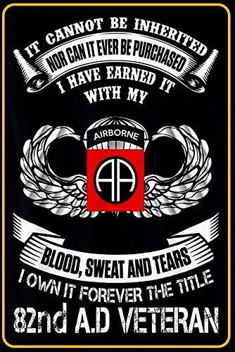 Forever The Title 82nd Airborne Division Veteran 8 'X12' Letrero militar Letrero de ventilador militar Hogar Hombre Decoración de cueva Letrero de chapa de metal Letrero de pared TY-04