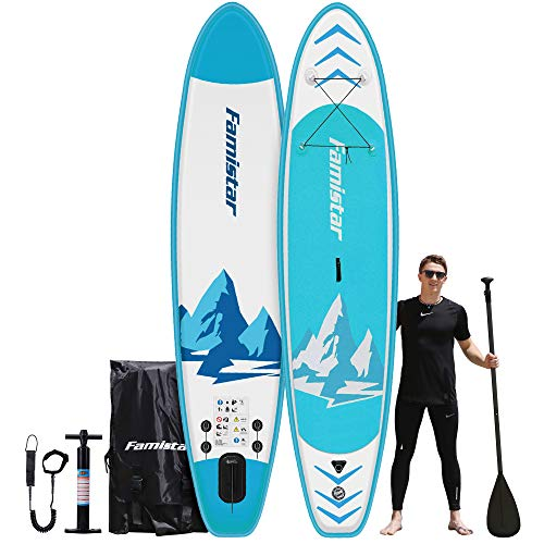 """12'x32""""x6"""", 396 lbs Capacity, All-around Inflatable Stand-up Paddle Board - SUP for All Skill Levels, Recreational Paddling, Yoga, Fishing, Touring, iSUP Accessories & Carry Bag Included (Blue)"""