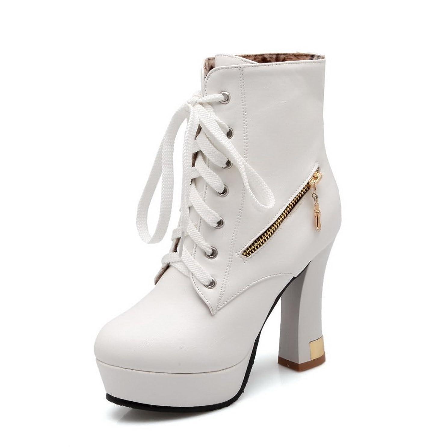 間隔長老アプライアンスA&N 女性 プラットフォーム ラウンドトゥ クロスストラップ ホワイト Puの皮 ブーツ?ブーティ - 22.5cm