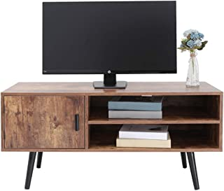 usikey Mid-Century TV Stand with 2 Storage Shelves&Door for Living Room, TV Console Cabinet, Retro Entertainment Center for Flat Screen TV Cable Box Gaming Consoles, in Office, Rustic Brown