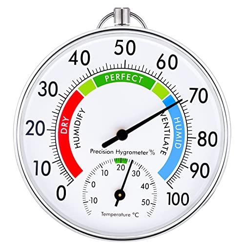 Thermometer Aussen - 10 cm Kabelloses Wandmontiertes Thermometer und Hygrometer, Analoges Thermo-Hygrometer Geeignet für Häuser, Gewächshäuser, Gärten, Autos usw, Ohne Batterien (Weiß)