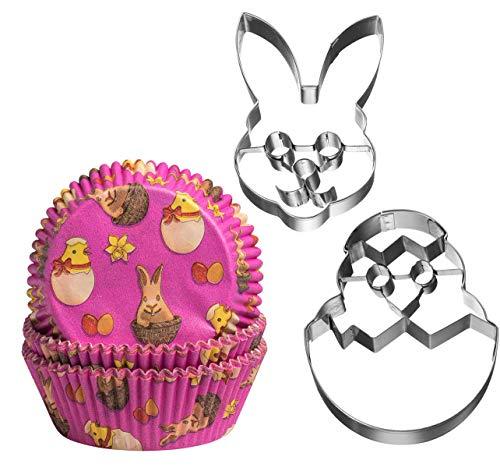 3er-Set 'Osterfreunde' - 60 x Muffinformen und 1 x Ausstecher Küken aus dem Ei und 1 x Ausstecher Hasenkopf - Ostern - Keksausstecher - Ausstechform - Muffinform - Küken - Osterhase