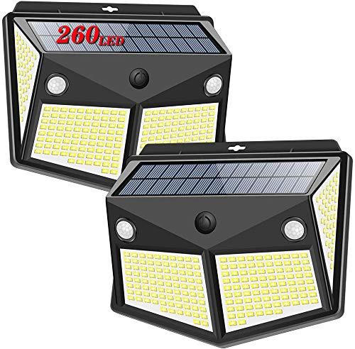 Luz Solar Exterior 260 LED, Salandens Luces LED Solares Exteriores con Sensor de Movimiento y 3 Modos de Iluminación, 300º lluminación Focos Solares, IP65 Impermeable Solar Luz LED,Impermeable Lámpara Solar para Exterior Jardín, Patio, Camino, Escalera (2-Paquete)