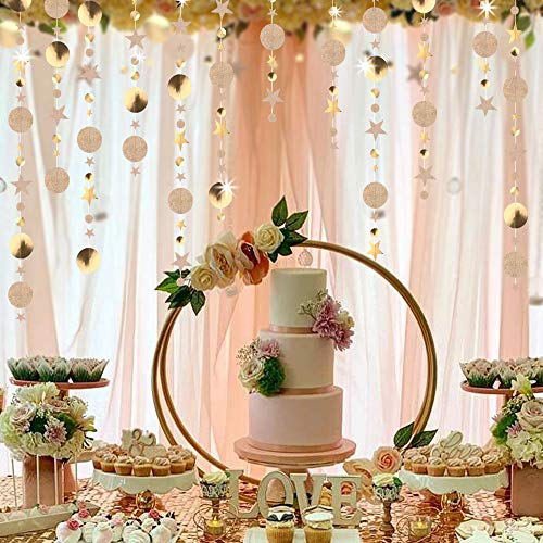 Guirnalda de 4 cuerdas, con diseño de estrellas y estrellas brillantes y fondo reflectante para compromiso, boda, baby shower, fete/cumpleaños/habitación de los niños