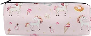 ATONO Trendy Pink Cartoon Horse Princess Unicorns Round Drum Pencil Pen Bag Marker Metal Zippers Pouch Holders Stationery Cases Canvas Storage Box 8x3x3 Inch for Studens, Boys&Girls