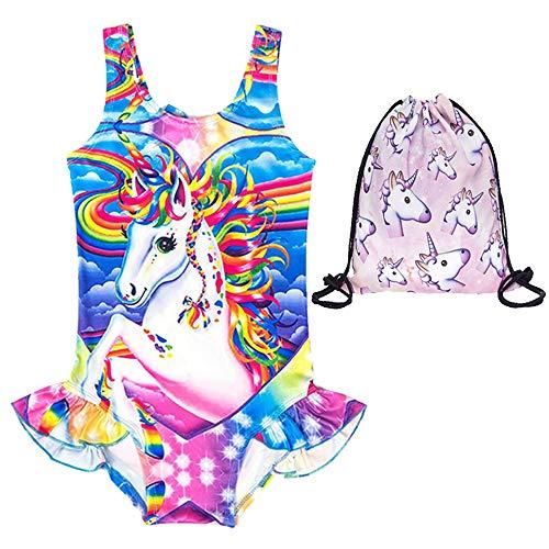 EuHigh Bañador Niña Unicornio Traje Baño Una Pieza