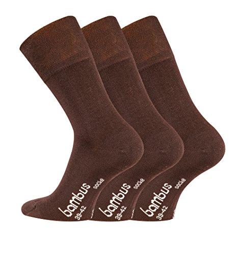TippTexx24 Bambussocken, 6 Paar Komfort Socken mit GERUCHS-KILLER Funktion und Antiloch-Garantie (Dunkelbraun, 43/46-6Paar)