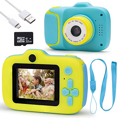 Kids Digital Camera for Boys- 1080P HD Video Recorder, 2 inch Kids Digital Camera, Best Kids Cameras for Toddler Girls Age 3 4 5 6 7 8 9 10 Years Old; Children Camera for Boys with 32gb SD Card-Blue