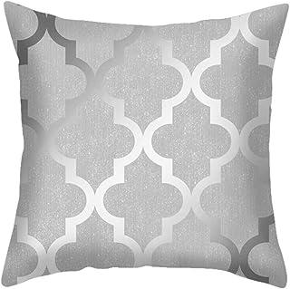 LOCOMO Funda de cojín gris y blanco con diseño geométrico moderno a rayas, triángulo, polígono, zig zag, terciopelo cuadrado, funda de almohada moderna decorativa para sofá