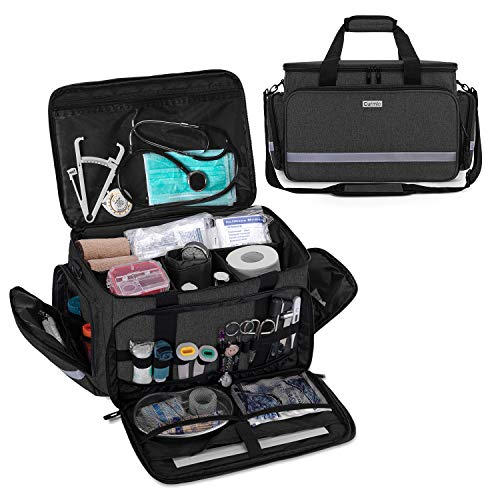 CURMIO Nurse Bag, Medical Bag Clinical Bag with inner Dividers and No-slip Bottom for Home Visits, Health Care, Hospice, for Nursing Students, Physical Therapists, Doctors,Black