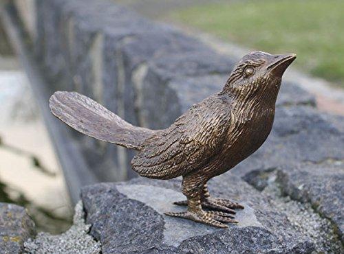 H. Packmor GmbH Figura de pájaro de bronce con alas cerradas para decoración de casa y jardín