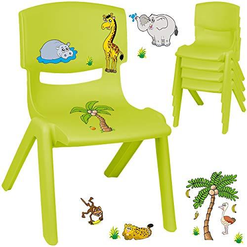 alles-meine.de GmbH Kinderstuhl / Stuhl - Motivwahl - grün - apfelgrün + Sticker - Zootiere & Giraffe - inkl. Name - Plastik - bis 100 kg belastbar / kippsicher - für INNEN & AUß..