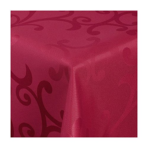 TEXMAXX Damast Tischdecke Maßanfertigung im Milano-Design in Wein-rot 110x190 cm eckig,weitere Längen und Farben wählbar