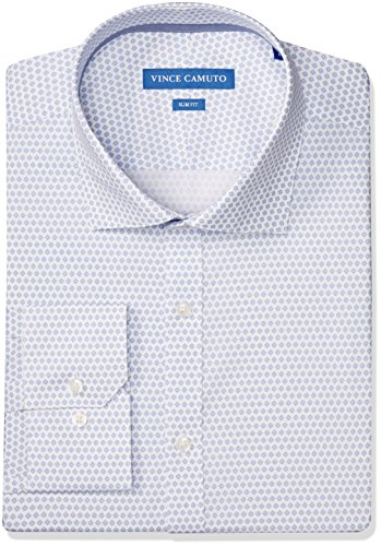 Vince Camuto Men's Slim Fit Performance Marine Geo Print Dress Shirt, Bright Blue, 15 32/33