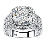 Platinum over Sterling Silver Round Cubic Zirconia Multi Row Halo Engagement Ring Size 6