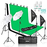 Emart 2000W Photography Video Studio Lighting Kit, Softbox Umbrella Continuous Photo Lighting, 8.5 x 10 Feet Backdrop Stand Support System, 3 Muslin Backdrops