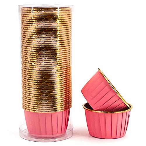 Party Hippo Cupcake Cups, 3.5 Oz 50 pcs Disposable Foil Muffin Liners, Gold Cupcake Baking Cups, Ramekin Aluminum Cupcake Tip Pan Ramekin Holders, Little Baking Cups (Pink)