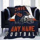 Custom Football Blanket Personalized Fleece Throw Blanket Name Number Gift for Football Fans C.b.