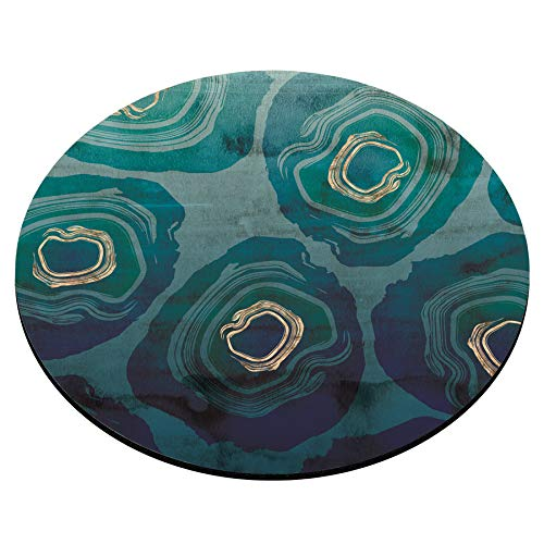 Smooffly Round Gaming Mouse Pad Custom Design, Blue Petrol Watercolor Texture Non-Slip Rubber Circular Mouse Pads Cute Mat Photo #4