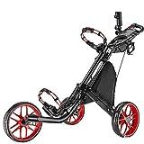 HANHJ Voiturette De Golf, Voiturette De Golf, Chariot Poussoir, Golf Pliable, Deux Roues, Tricycle, Quatre Roues, Matériau en Alliage D'aluminium,Red