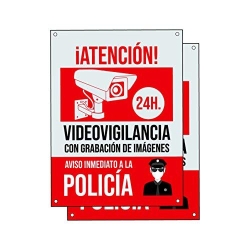 Cartel videovigilancia - Placa alarma conectada - Carteles zona videovigilada - Aviso a la Policía 20x15 cm Rojo Interior/Exterior (2 Piezas Cartel videovigilancia)
