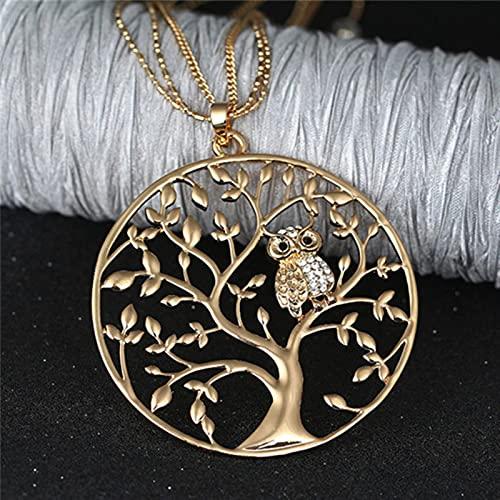 Collar de búho de árbol de la Vida de Oro, Colgante Redondo Grande, Cadenas largas, Collar de suéter para Mujer, joyería de declaración, Regalos