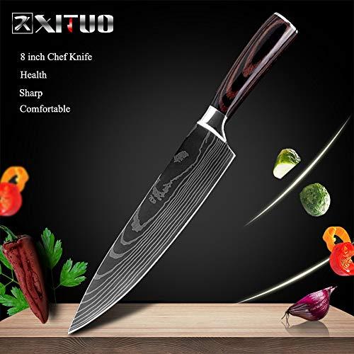 SDFY Cuchillo de Cocina de 8' Pulgadas Modelo japonés Cuchillos de Cocina láser Damasco Chef Santoku Cuchillo Afilado Cleaver rebanar Cuchillos Herramienta Afilado (Color : 8 in Chef Knife)
