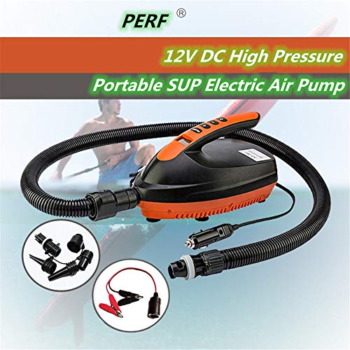 PERF Electric SUP Air Pump,16PSI 12V DC High Pressure Pump Designed for SUP, Inflatable Boat, Paddle Board, Kayaks (Single inflatable)
