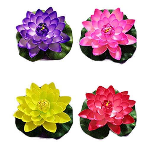 RAILONCH Seerosen künstliche Lotusblumen Teichpflanzen EVA Real Touch Blumen 4er Set, B2, 18x18cm