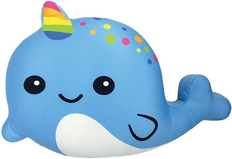Iscream Strawberry Scented Rainbow Horn Narwhal 21 25 X 15 Fleece Back Microbead Pillow