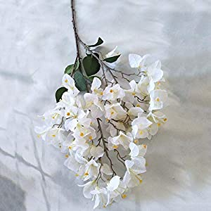 Artificial and Dried Flower Artificial Flower Bougainvillea Flower Indoor Decoration Simulation Bougainvillea Bouquet Fake Silk Flower Home Party Desk Decor – ( Color: White )