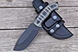 D2 Steel Knife, Full Tang Bushcraft Knife - Hunting Knife - Handmade Tracker Knife, Hand forged Fixed Blade Knives, Camping Knife, EDC Knife & Hunting Knives with Micarta Handle & Leather Knife Sheath