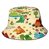 Fun with Dinosaurs Creme Bucket Hat Fisherman Hats Summer Packable Cap for Men Women