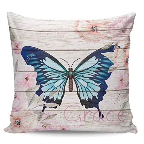 Scrummy Fundas de almohada de 60,96 x 60,96 cm, diseño de mariposas, color azul, estilo vintage, decoración de madera
