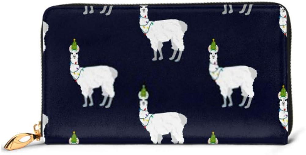Fashion Handbag Zipper Wallet Llama Christmas Costume Seamless Pattern On Phone Clutch Purse Evening Clutch Blocking Leather Wallet Multi Card Orga
