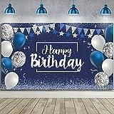 Happy Birthday Backdrop, Navy Blue and Silver Glitter Birthday Backdrop Sign,...