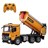 GoolRC WLtoys 14600 RC Dump Truck, 1/14 Scale 2.4Ghz Remote Control Dump Truck, RC Construction Vehicle Toy with LED Lights and Simulation Sound for Kids and Adults