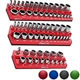 Olsa Tools Magnetic Socket Organizer | 3 Piece Socket Holder Kit | 1/2-inch, 3/8-inch, 1/4-inch Drive | SAE Red | Holds 68 Sockets | Premium Quality Tools Organizer