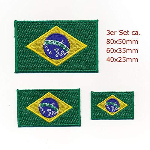 hegibaer 3 Brasilien Brasil Brasilia Flaggen - Rio de Janeiro Aufnäher Aufbügler Set 0938